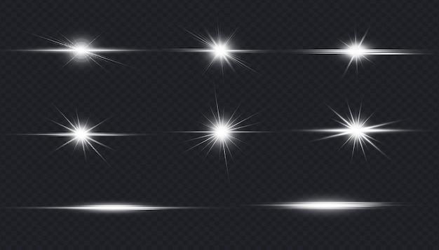 Collezione di effetti luminosi bagliori di lenti bianche luminose
