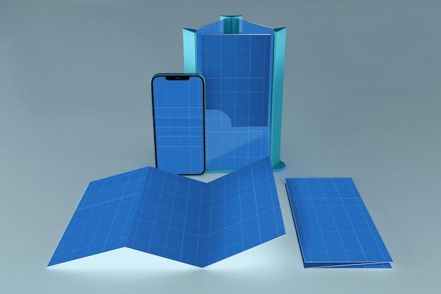 Brochure e smartphone, rendering 3d