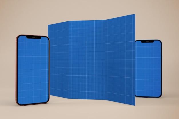 Brochure e smartphone mockup
