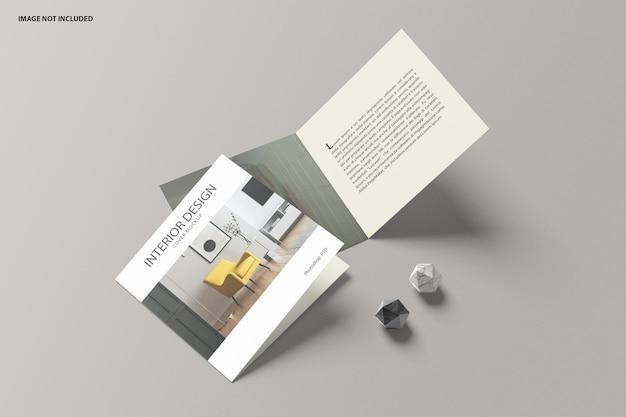 Brochure square bifold mockup