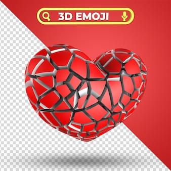 Cuore spezzato 3d rendering emoji isolato