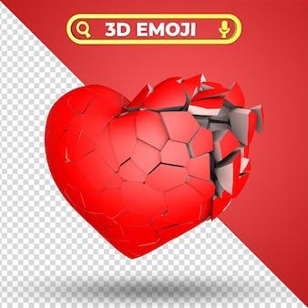 Cuore spezzato 3d rendering emoji isolato Psd Premium