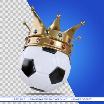 Corona di bronzo sul concetto di pallone da calcio di vittoria nello sport del calcio