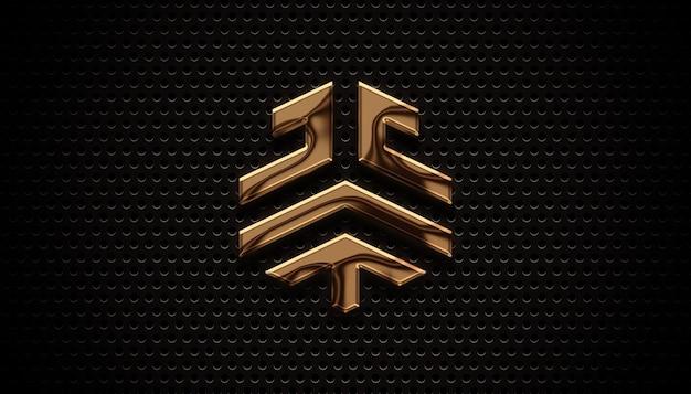 Mockup del logo 3d con piastra in bronzo