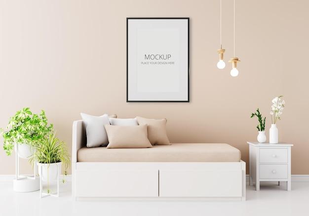 Interno della camera da letto marrone con mockup di telaio