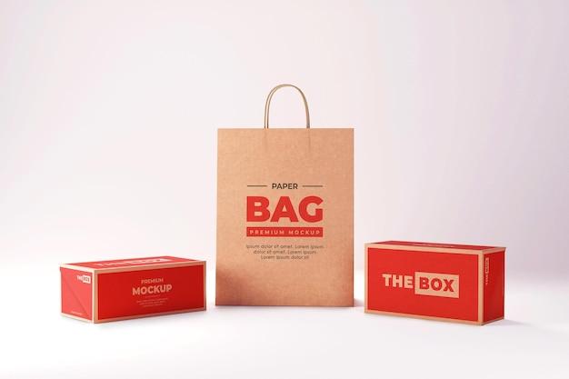 Mockup di sacchetto di carta scatola marrone shopping rosso