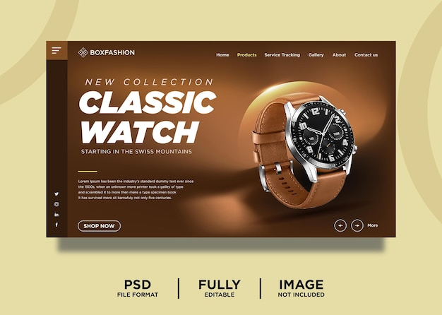 Modello di pagina di destinazione del prodotto orologio classico di colore marrone
