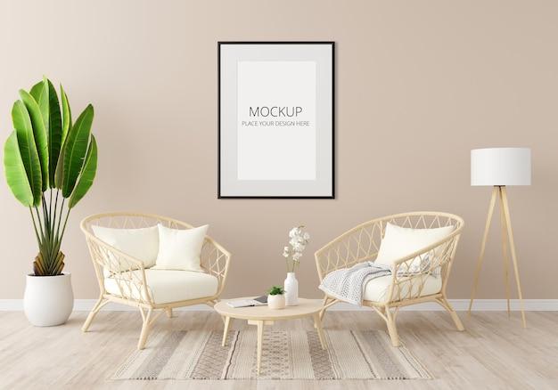 Interno del soggiorno marrone con mockup di cornice