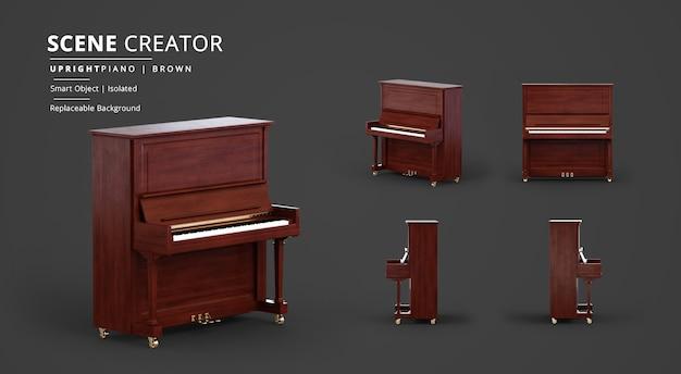 Creatore di scene di rendering di pianoforte verticale in legno marrone