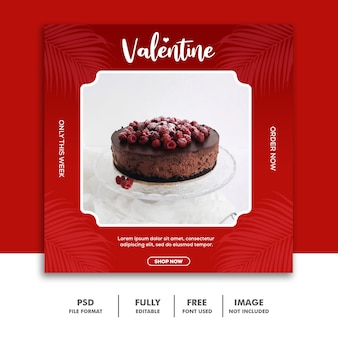 Banner di brownies social media post valentine