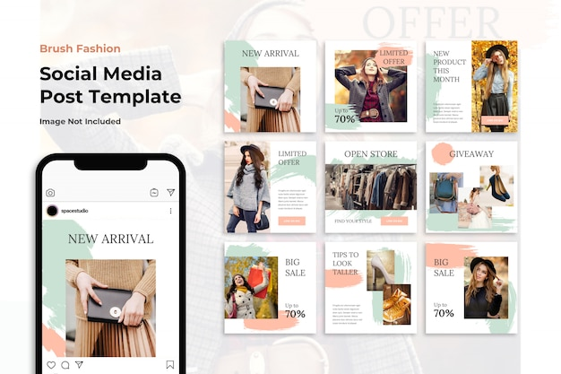 Spazzola fashion store social media banner modelli instagram
