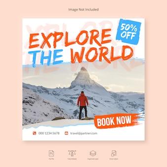 Spazzola viaggio viaggio social media banner modello di instagram