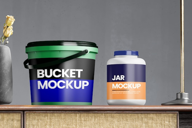 Bucket and jar mockup