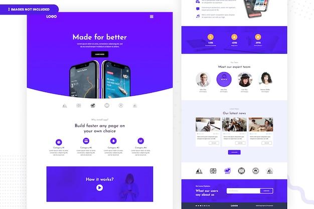 Crea la pagina del sito web dell'applicazione mobile più veloce