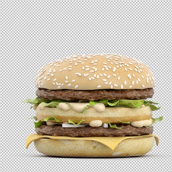 L'hamburger 3d isolato rende