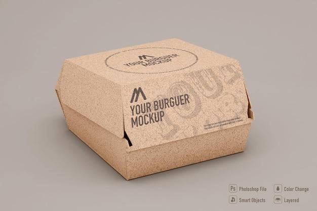 Hamburger box mockup design isolato
