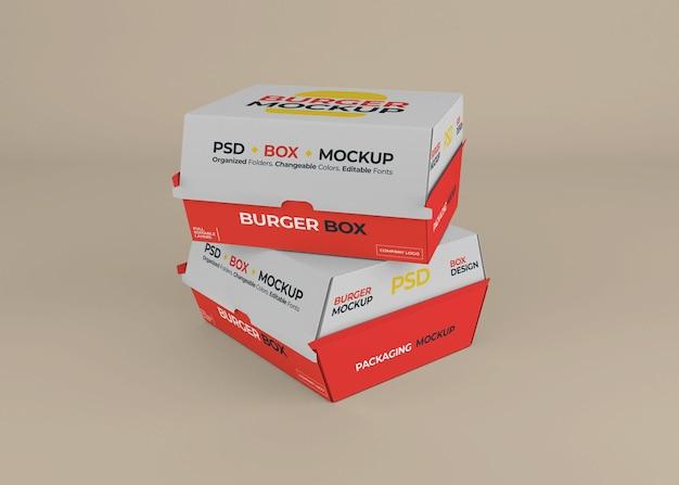 Hamburger box packaging mockup design isolato