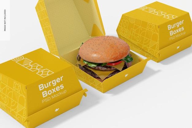 Hamburger boxes mockup, close up