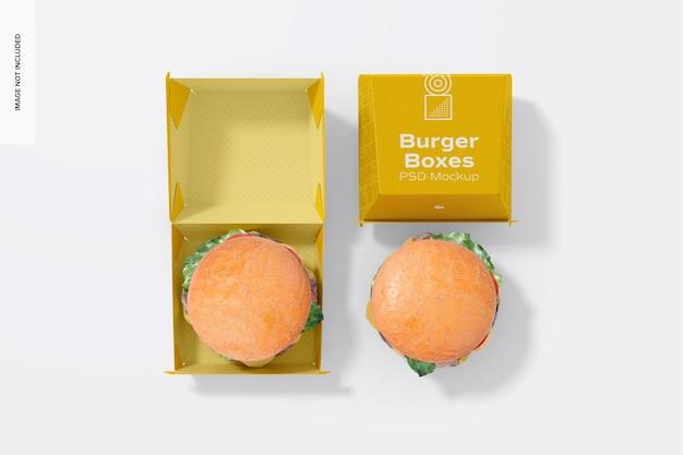 Mockup di scatole di hamburger, vista dall'alto