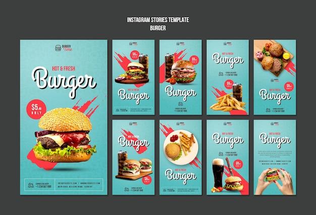 Modello di storie di instagram di concetto di hamburger
