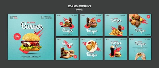 Modello di post sui social media di concetto di hamburger
