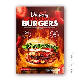 Modello di post di instagram per la promozione del menu del cibo dell'hamburger sui social media