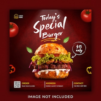 Burger cibo menu promozione social media instagram post banner template