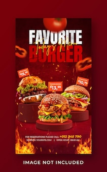Burger cibo menu promozione social media instagram story banner template