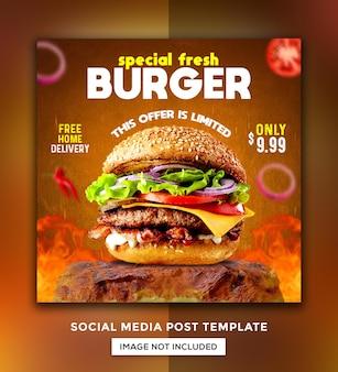Modello di progettazione di post sui social media per la promozione del menu di hamburger