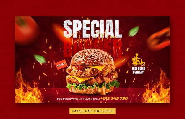 Modello di banner web promozione menu cibo hamburger