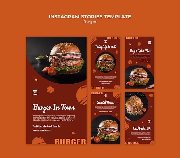 Modello di storie di instagram di hamburger