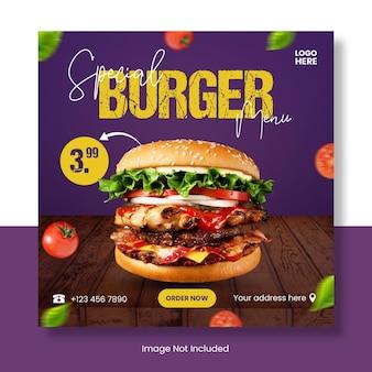 Banner del modello di post di instagram del menu dell'hamburger