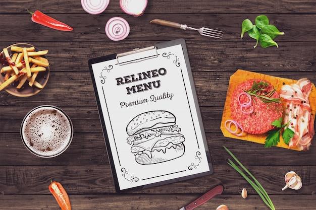 Mockup di menu di hamburger
