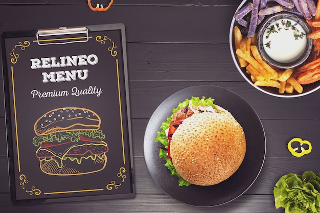 Mockup di menu di hamburger