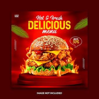 Modello di banner sui social media per la promozione del menu dell'hamburger