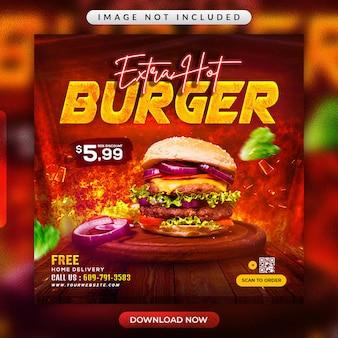 Volantino per ristorante di hamburger o modello di banner per social media