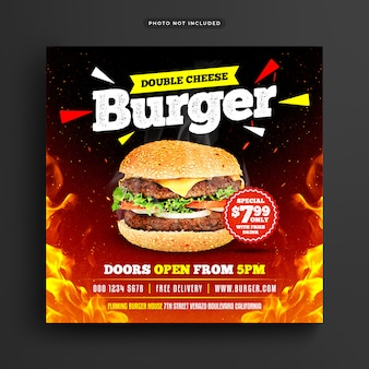 Burger restaurant social media post e banner web