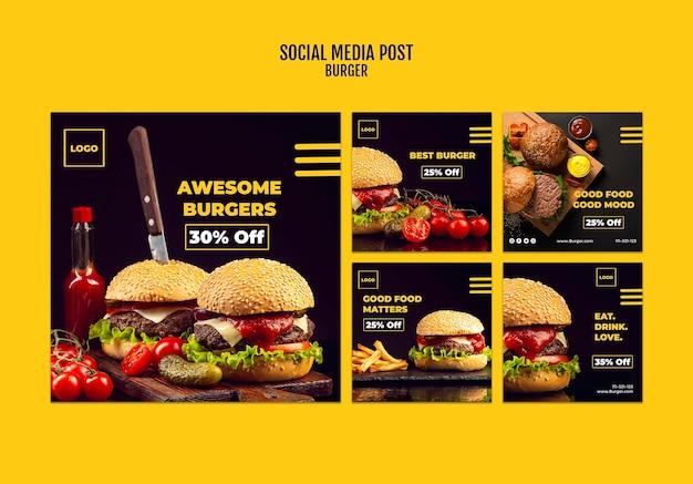 Modello di post di social media burger