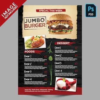 Modello di menu speciale per hamburger