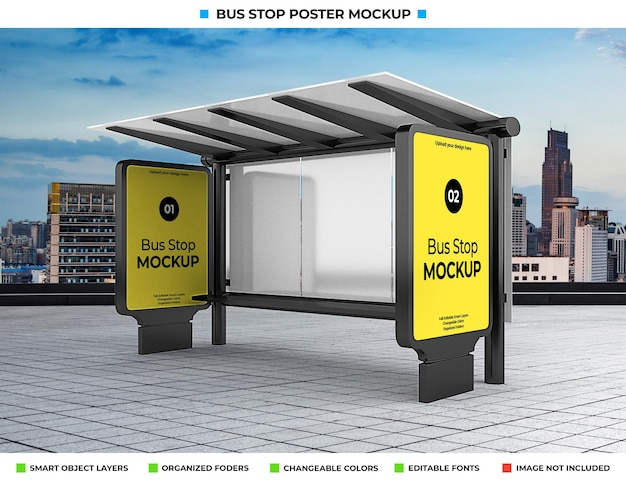 Mockup di pubblicità della fermata dell'autobus sulla strada della città