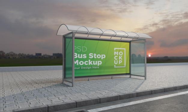 Fermata dell'autobus pensilina segno mockup 3d rendering Psd Premium