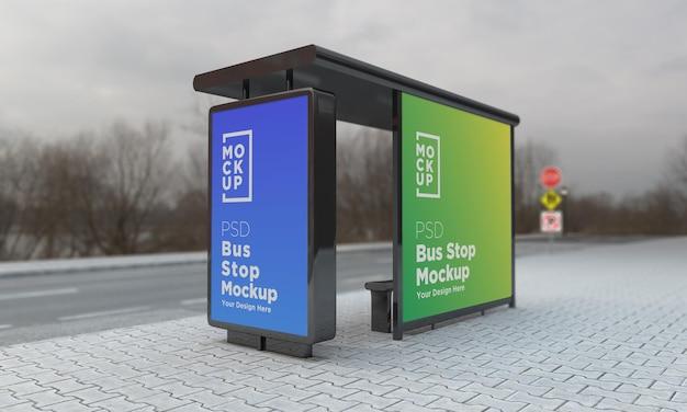 Fermata dell'autobus pensilina segno mockup 3d rendering