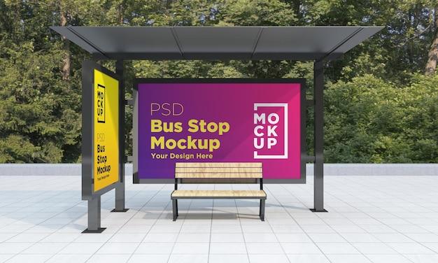 Fermata dell'autobus pensilina due segni mockup 3d rendering