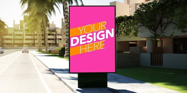 Mockup di poster di fermata dell'autobus per la pubblicità