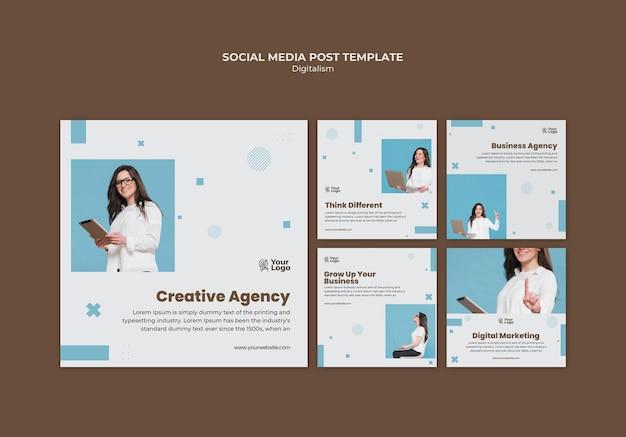 Modello di post sui social media dell'annuncio aziendale Psd Premium