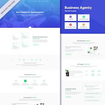 Psd dell'interfaccia web dell'agenzia commerciale. una pagina web design
