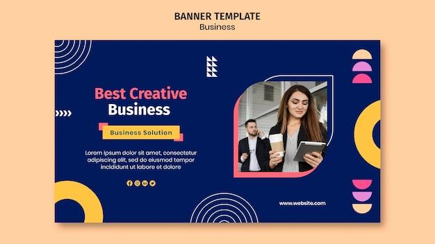 Modello di banner aziendale con forme colorate Psd Premium