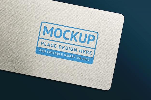 Modello di mockup di logo blu biglietto da visita