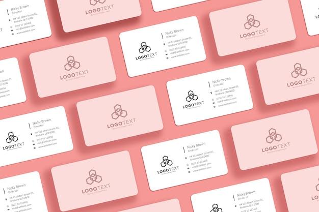 Biglietto da visita collage mockup design rosa