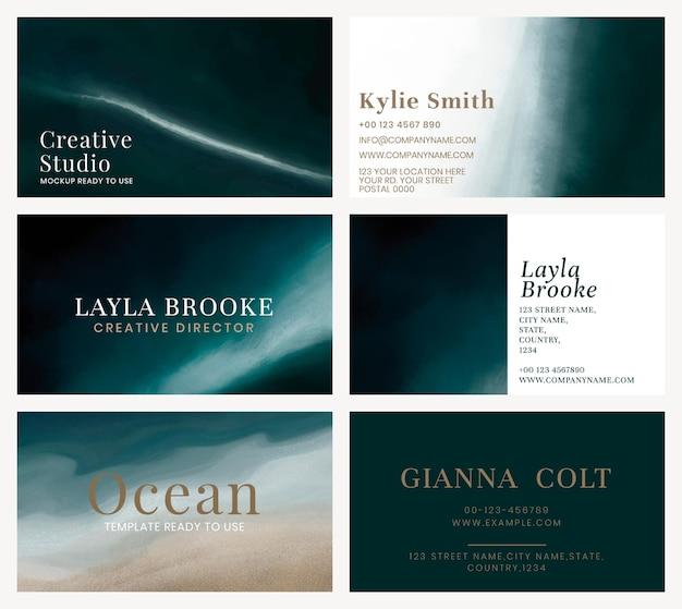 Set di modelli modificabili per biglietti da visita psd con acquerello scuro dell'onda dell'oceano
